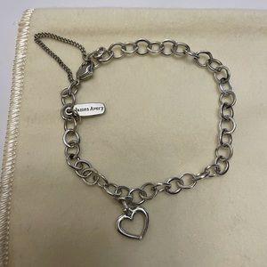 James Avery Forged Link Charm Bracelet W/Open Heart Charm
